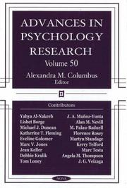 Cover of: Advances in Psychology Research by Alexandra Columbus