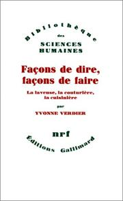 Cover of: Façons de dire, façons de faire by Yvonne Verdier