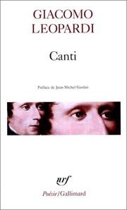 Cover of: Canti, oeuvres morales by Giacomo Leopardi
