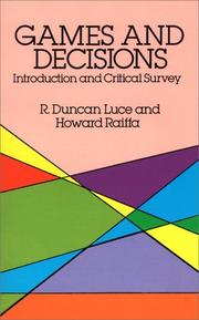 Games and decisions by R. Duncan Luce