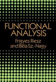 Leons d&#39;analyse fonctionelle by Frigyes Riesz