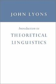 Introduction to theoretical linguistics by Lyons, John