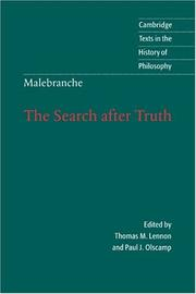Recherche de la vrit by Malebranche, Nicolas