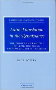 Latin translation in the Renaissance by Paul Botley