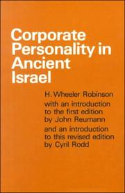 Corporate personality in ancient Israel by H. Wheeler Robinson