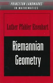 Riemannian geometry by Eisenhart, Luther Pfahler