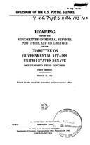 Oversight of the U.S. Postal Service PDF