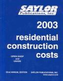2003 Residential Construction Costs PDF