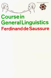Cours de linguistique gnrale by Ferdinand de Saussure