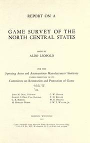 Report on a game survey of the north central states by Aldo Leopold
