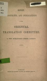 Report, prospectus, and publications of the Oriental Translation Committee by Oriental Translation Fund.