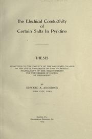 The electrical conductivity of certain salts in pyridine PDF