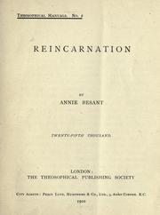 Reincarnation by Annie Wood Besant