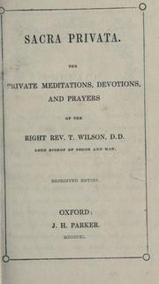 Sacra privata by Wilson, Thomas