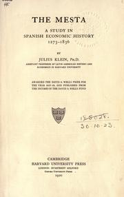The Mesta by Julius Klein