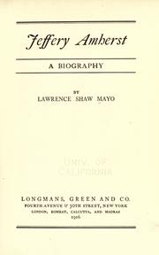 Jeffery Amherst by Lawrence Shaw Mayo