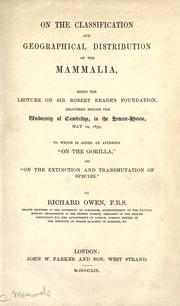 On the classification and geographical distribution of the mammalia by Owen, Richard