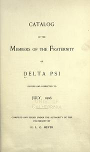 Cover of: Catalog of the members of the fraternity of Delta Psi by Fraternity of Delta Psi.