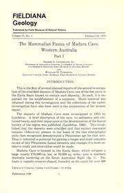 The mammalian fauna of Madura Cave, Western Australia by Ernest L. Lundelius