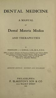 Dental medicine by Ferdinand J. S. Gorgas