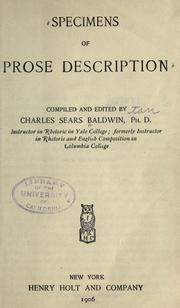Specimens of prose description by Charles Sears Baldwin