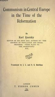 Communism in Central Europe in the time of the Reformation by Karl Kautsky