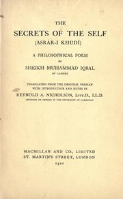 Cover of: Secrets of the self (Asr©Æar-i khud©Æi) by Iqbal, Muhammad Sir