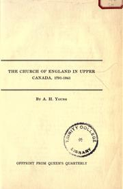 The Church of England in Upper Canada, 1791-1841 PDF