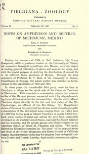 Notes on amphibians and reptiles of Michoacan, Mexico by Karl Patterson Schmidt