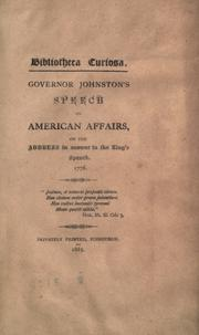 Governor Johnston's [!] speech on American affairs by George Johnstone