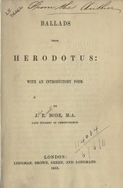 Ballads from Herodotus by John Ernest Bode