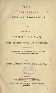 Cover of: Q. S. F. Tertulliani liber apologeticus by Tertullian