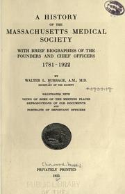 Cover of: A history of the Massachusetts Medical Society by Walter L. Burrage