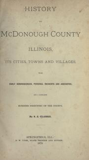Cover of: History of McDonough County, Illinois by S. J. Clarke