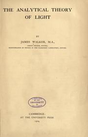 The analytical theory of light by Walker, James