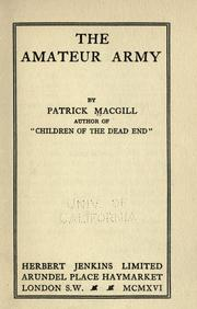 The Amateur Army by Patrick MacGill
