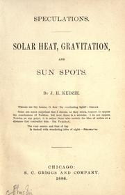 Speculations by J. H. Kedzie
