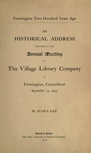 Cover of: Farmington two hundred years ago by Julius Gay
