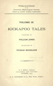 Cover of: Kickapoo tales by Jones, William
