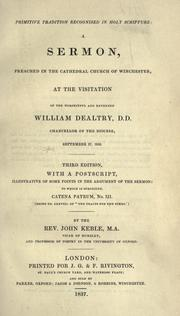 Cover of: Primitive tradition recognised in Holy Scripture by John Keble