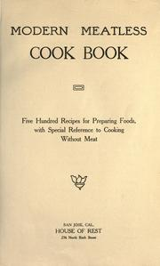 Cover of: Modern meatless cook book by