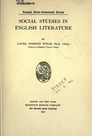 Social studies in English literature by Laura Johnson Wylie