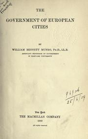 The government of European cities PDF