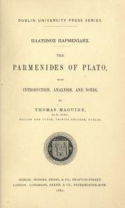Cover of: The Parmenides of Plato by Plato