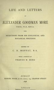 Cover of: Life and letters of Alexander Goodman More by Alexander Goodman More