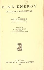 Cover of: Mind-energy, lectures and essays by Bergson, Henri