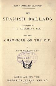 The Spanish ballads by J. G. Lockhart
