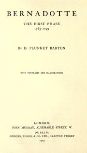 Bernadotte by Barton, D. Plunket Sir