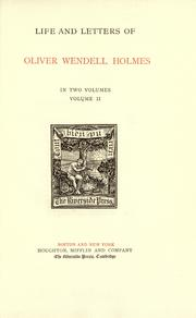 Life and letters of Oliver Wendell Holmes by John Torrey Morse