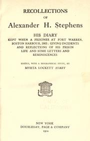 Cover of: Recollections of Alexander H. Stephens by Stephens, Alexander Hamilton